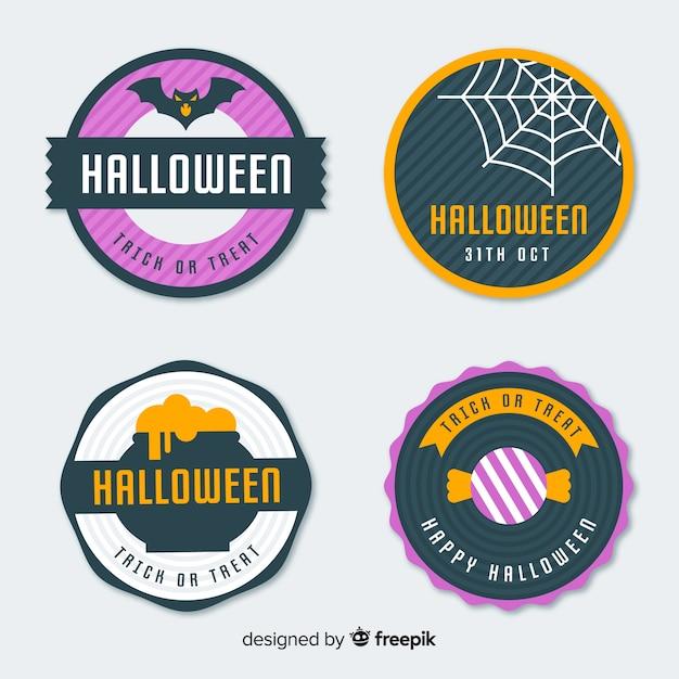 Original halloween-label-kollektion mit flachem design Kostenlosen Vektoren