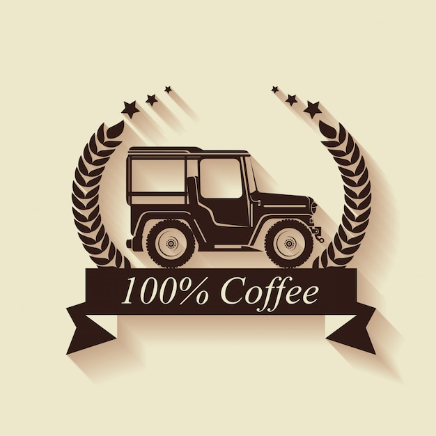 Original kaffeeetikett mit transport Kostenlosen Vektoren