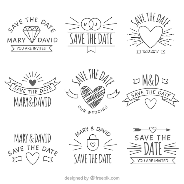 Original Pack von Hand gezeichnet Hochzeit Etiketten Kostenlose Vektoren