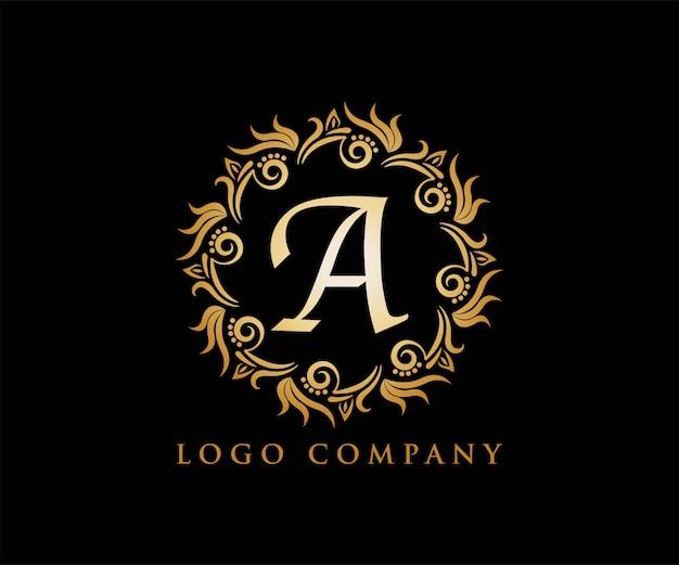 Ornament gold für yoga-logo Premium Vektoren
