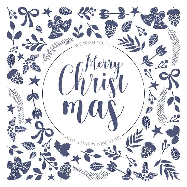Ornamental christmas greeting card mit handgezeichneten elementen Kostenlosen Vektoren