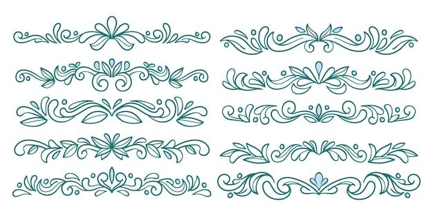 Ornamental fancy divider blue set Kostenlosen Vektoren
