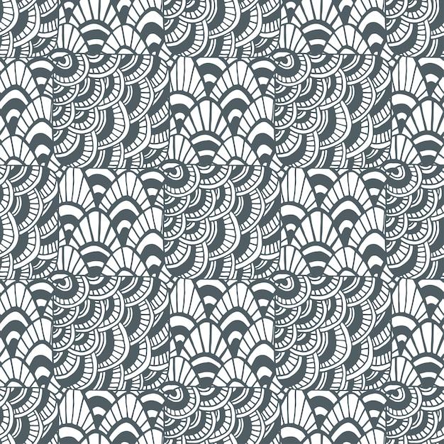 ornamental wellen zentangle muster kreatives textilmuster oder verpackungsdesign premium vektoren - Zentangle Muster