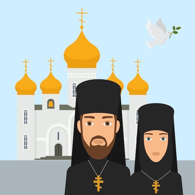 Orthodoxe christentumsreligions-vektorillustration. priester und nonne mit weißer kirche des kreuzes und des orthodoxen christentums und goldener spitze. glaube an gott, christentum, orthodoxie. Premium Vektoren