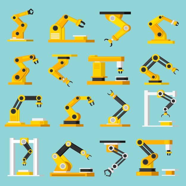 Orthogonale flache ikonen der automatisierungsförderer eingestellt Kostenlosen Vektoren