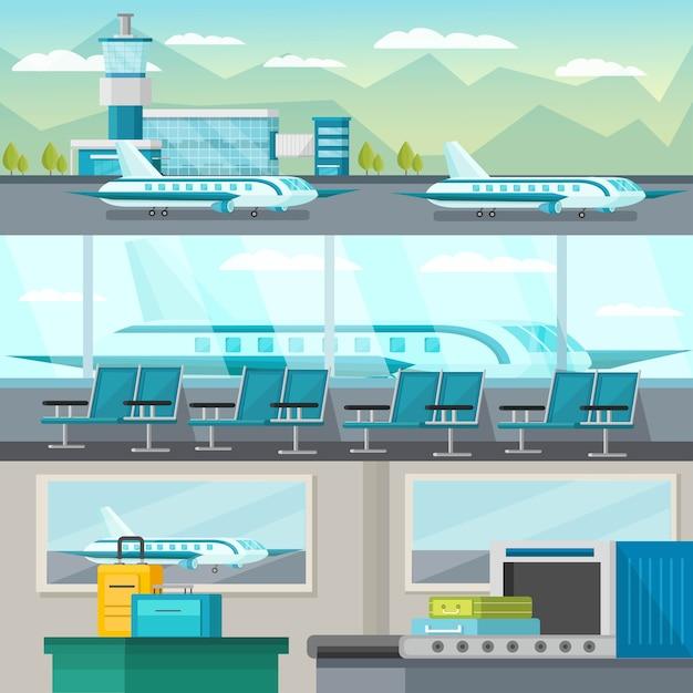 Orthogonaler illustrationssatz des flughafens Kostenlosen Vektoren