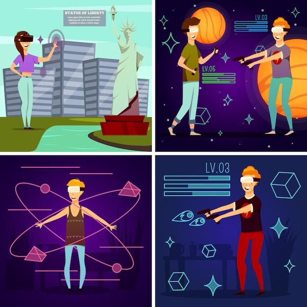 Orthogonales designkonzept für virtuelle realität Kostenlosen Vektoren