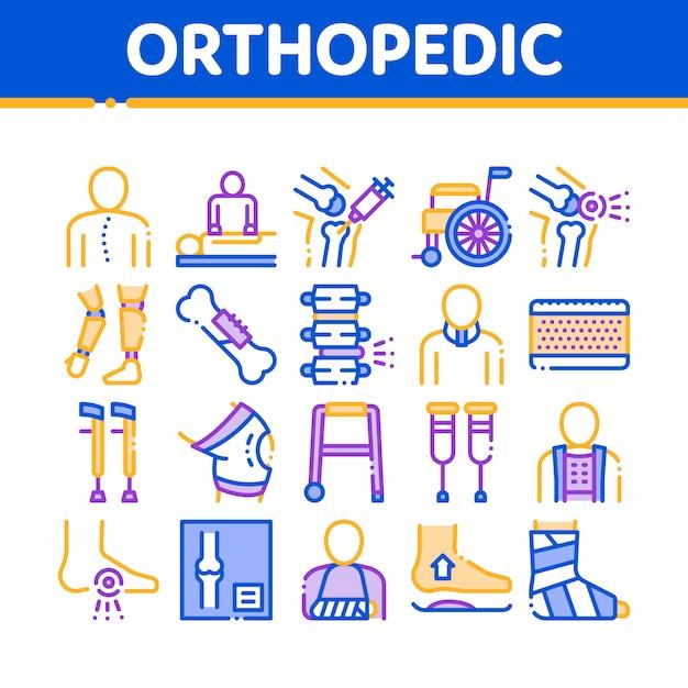 Orthopädische icons sammlung Premium Vektoren