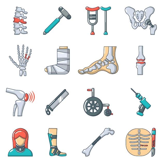 Orthopädische knochenwerkzeugikonen eingestellt Premium Vektoren