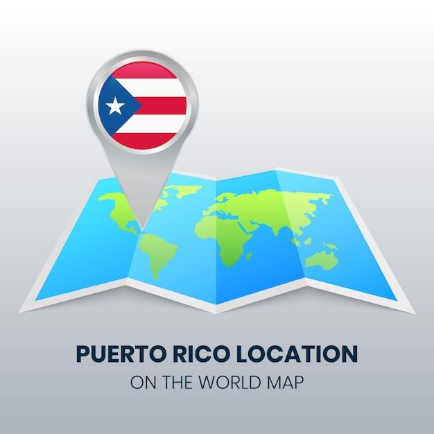 Ortssymbol von puerto rico auf der weltkarte Premium Vektoren