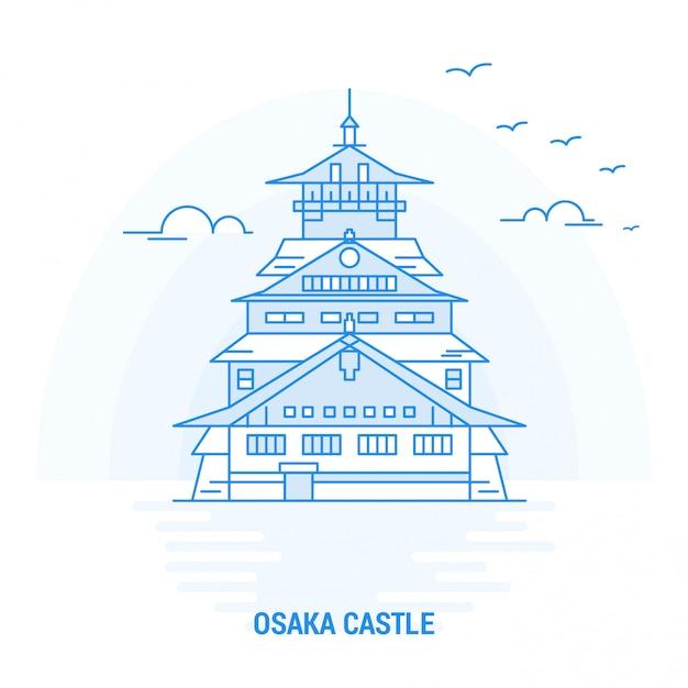 Osaka castle blue landmark Premium Vektoren