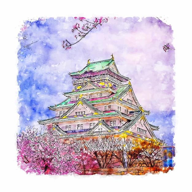 Osaka castle japan aquarell skizze hand gezeichnete illustration Premium Vektoren