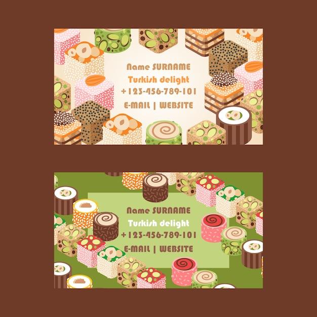 Ostbonbons der türkischen freude süßigkeitsshop-visitenkarte Premium Vektoren