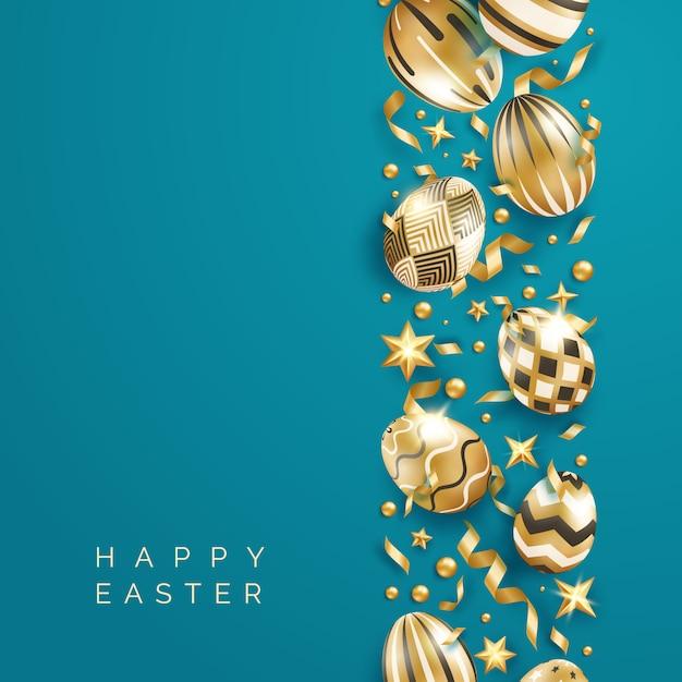 Osterblauer hintergrund mit realistisch verzierten goldenen eiern, bändern, sternen, kugeln und text. Premium Vektoren