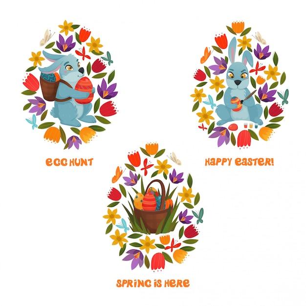 Osterei hunt spring flowers composition Kostenlosen Vektoren