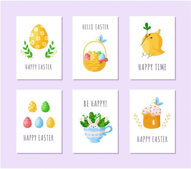 Ostereier, cartoon-huhn, süßer kuchen, süßes kaninchen in der teetasse, korb mit ostereiern - karten Premium Vektoren