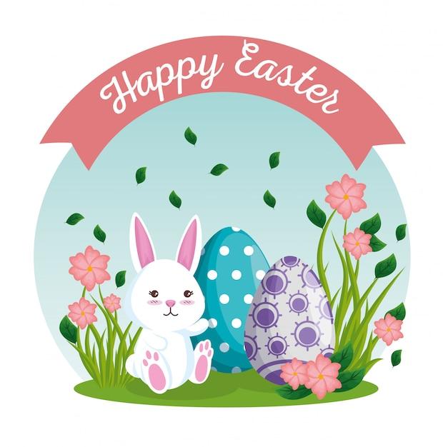 Ostereier und kaninchen mit blumenanlagen Kostenlosen Vektoren