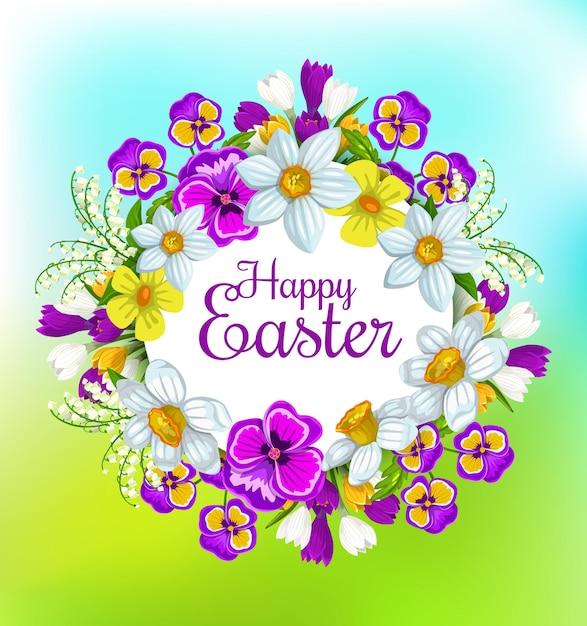 Osterfrühlingsblumenkranz, christliche religiöse feiertagsfeier Premium Vektoren