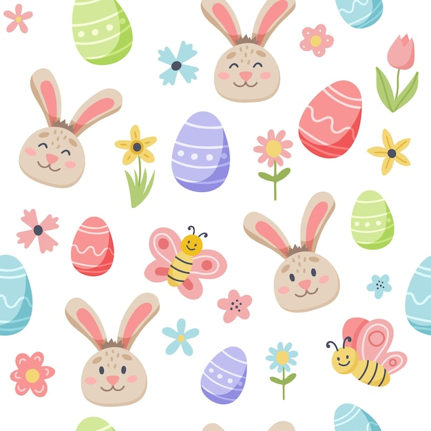 Osterfrühlingsmuster mit niedlichem hasen und verzierten eiern. hand gezeichnete flache karikaturelemente. Premium Vektoren