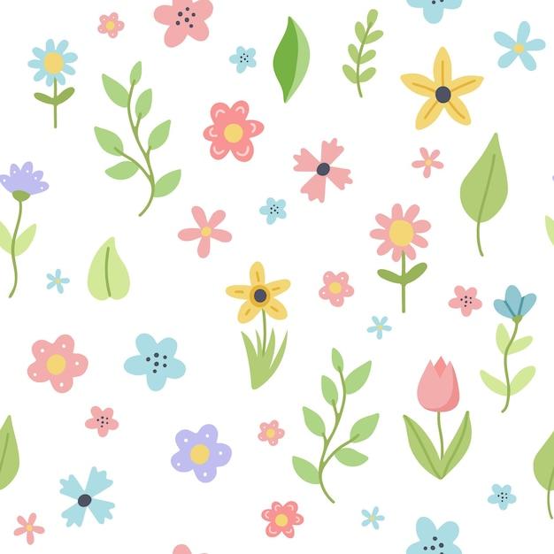 Osterfrühlingsmuster mit niedlichen blumen und blättern. hand gezeichnete flache karikaturelemente. Premium Vektoren