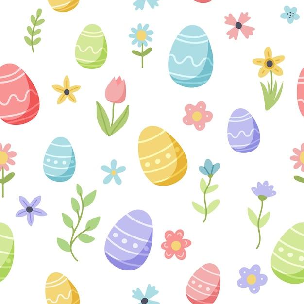 Osterfrühlingsmuster mit niedlichen eiern und blumen. hand gezeichnete flache karikaturelemente. Premium Vektoren