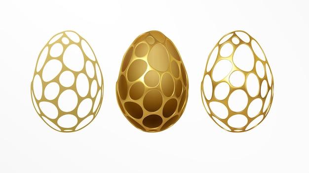 Ostergrußkarte mit einem bild eines ostereies in einem goldenen organischen realistischen 3d-gittermuster. schmuckdekoration. luxusverzierung. vektorillustration eps10 Kostenlosen Vektoren