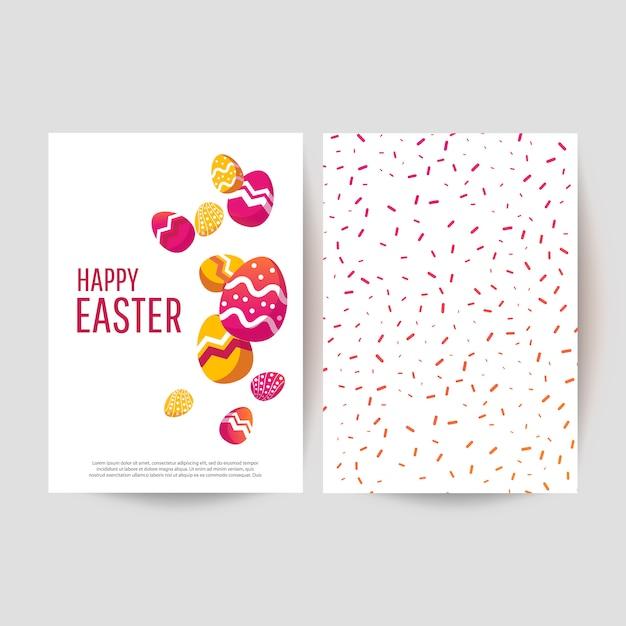 Osterkarte mit bemalten eiern Premium Vektoren