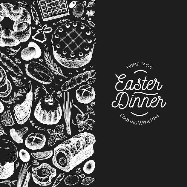 Ostern abendessen banner vorlage Premium Vektoren