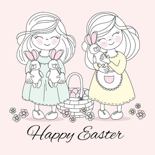Ostern-kinder religiöser feiertags-vektor Premium Vektoren