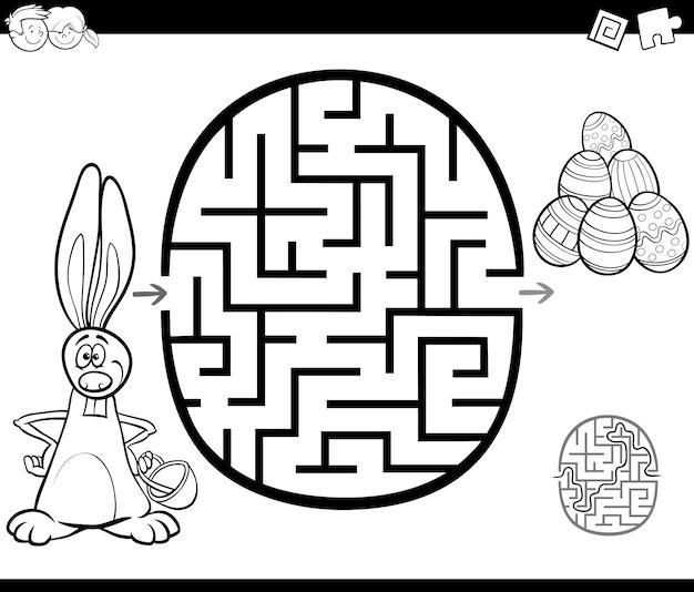 Ostern Labyrinth Aktivität zum Färben   Download der Premium Vektor