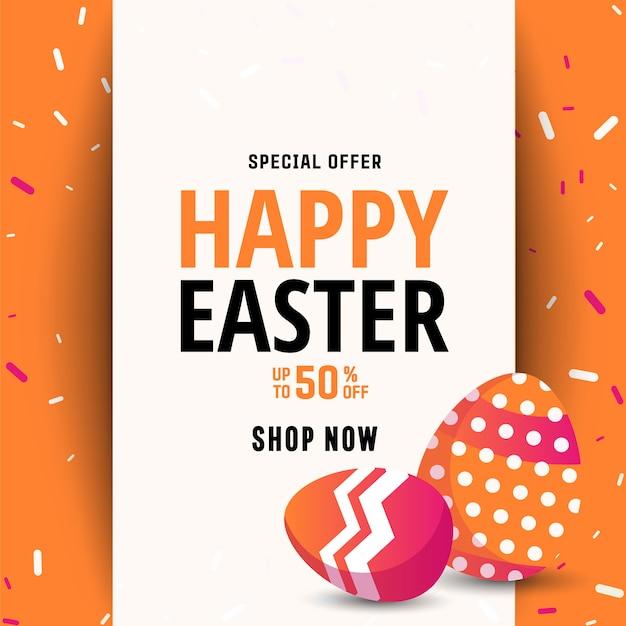 Ostern sale banner mit platz für text. Premium Vektoren