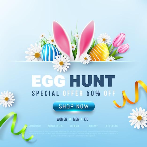 Ostern sale banner vorlage mit ostereiern und blume Premium Vektoren
