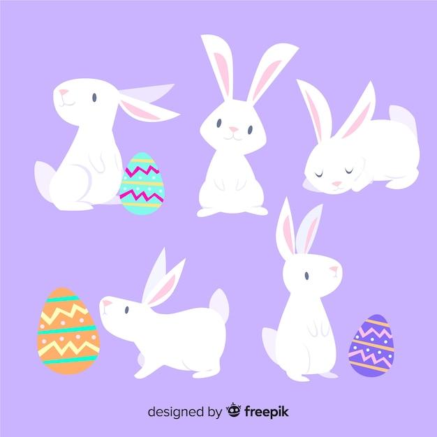 Ostern-tag-kaninchen-sammlung Premium Vektoren