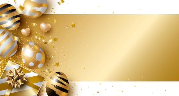 Ostern-tagesdesign von goldeiern und von geschenkbox Premium Vektoren