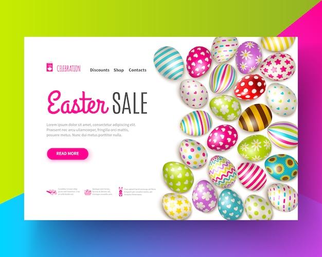 Ostern-verkaufsfahne verziert mit verschiedenen gemalten eiern auf buntem realistischem Kostenlosen Vektoren