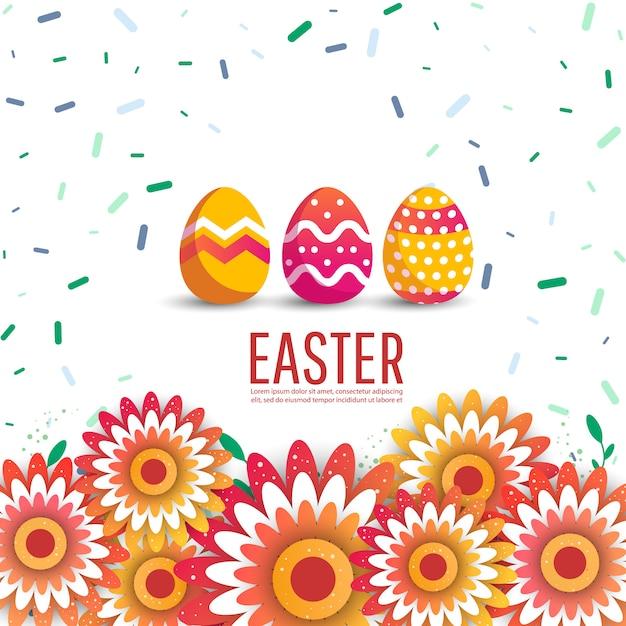 Ostern-verkaufsfahnen-hintergrundschablone mit eiern. Premium Vektoren