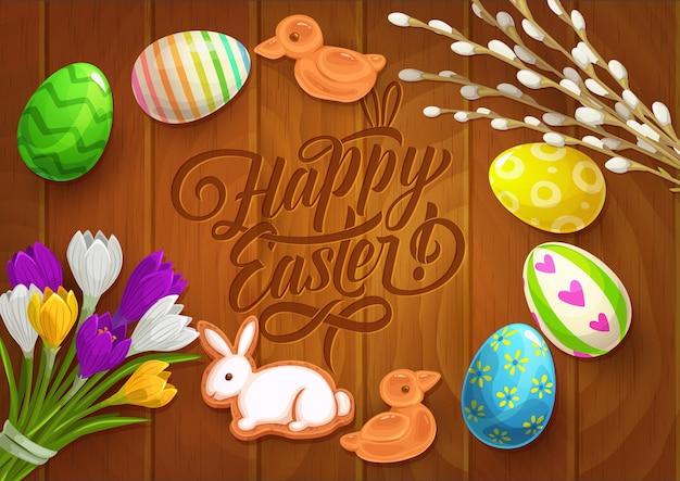 Osterplakat mit gemalten eiern, krokusblüten Premium Vektoren