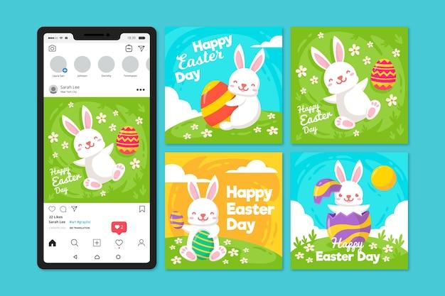 Ostertag instagram beitrag mit weißem kaninchen auf gras Kostenlosen Vektoren