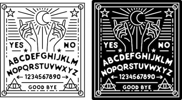 Ouija board monoline badge, mit schwarzer und weißer farbe Premium Vektoren