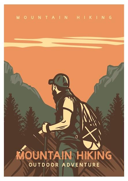 Outdoor-abenteuer des posterdesign-bergwanderns mit weinleseillustrationsillustration des mannes Premium Vektoren