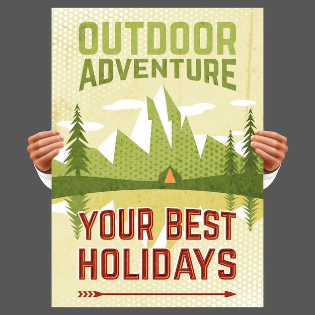Outdoor-abenteuer-tourismus-plakat Kostenlosen Vektoren