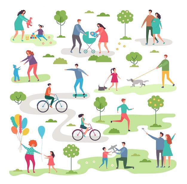 Outdoor-aktivismus im stadtpark. fahrradfahrer und wanderer Premium Vektoren