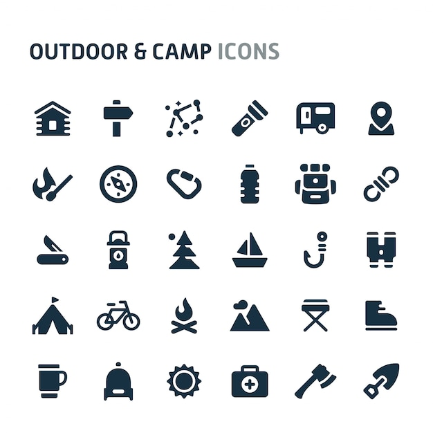 Outdoor & camp-icon-set. fillio black icon-serie. Premium Vektoren
