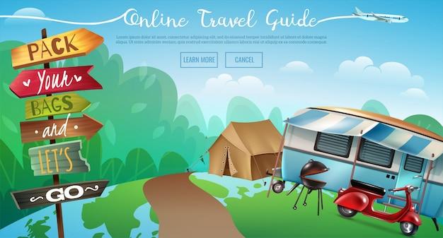 Outdoor camping reisen banner Kostenlosen Vektoren
