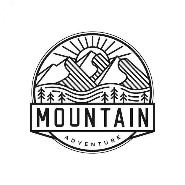 Outdoor-logo im lineart-stil Premium Vektoren