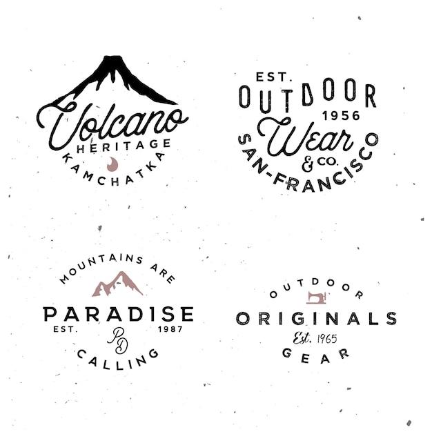 Outdoor-logo-vorlagen. einfache vintage abzeichen auf abenteuerthema Premium Vektoren