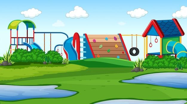 Outdoor park spielplatz szene Kostenlosen Vektoren