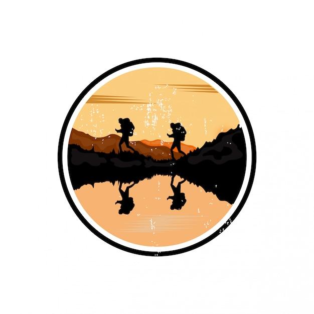 Outdoor-reise-logo-design Premium Vektoren