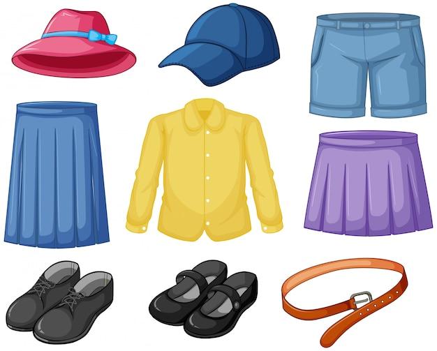 Outfits zum tragen von elementen Kostenlosen Vektoren
