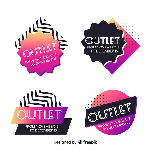 Outlet-abzeichen-sammlung Kostenlosen Vektoren